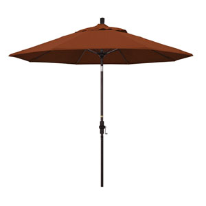 9 Foot Umbrella Fiberglass Market Collar Tilt Bronze/Olefin/Terracotta