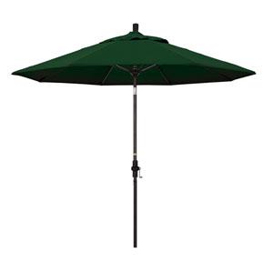 9 Foot Umbrella Fiberglass Market Collar Tilt Bronze/Pacifica/Hunter Green