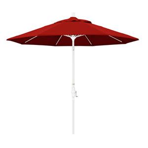 9 Foot Umbrella Fiberglass Market Collar Tilt - Matted White/Sunbrella/Jockey Red