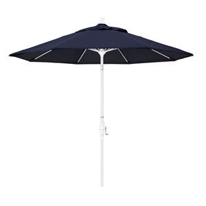 9 Foot Umbrella Fiberglass Market Collar Tilt - Matted White/Sunbrella/Navy