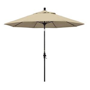 9 Foot Umbrella Fiberglass Market Collar Tilt - Matted Black/Sunbrella/Antique Beige