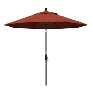 9 Foot Umbrella Fiberglass Market Collar Tilt - Matted Black/Sunbrella/Terracotta