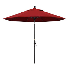 9 Foot Umbrella Fiberglass Market Collar Tilt - Matted Black/Pacifica/Red