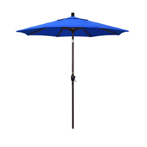 7.5 Foot Umbrella Aluminum Market Push Tilt - Bronze/Sunbrella/Pacific Blue
