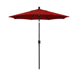 7.5 Foot Umbrella Aluminum Market Push Tilt - Matted Black/Sunbrella/Jockey Red