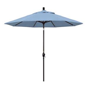 9 Foot Aluminum Market Umbrella Push Tilt Bronze/Sunbrella/Air Blue