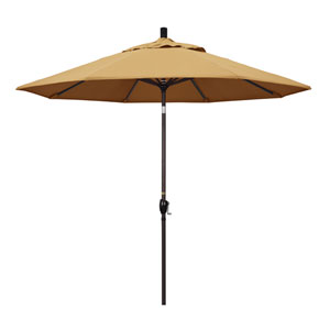 9 Foot Umbrella Aluminum Market Push Tilt - Bronze/Sunbrella/Wheat
