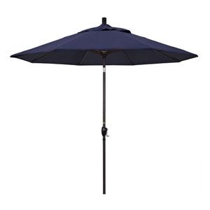 9 Foot Umbrella Aluminum Market Push Tilt - Bronze/Sunbrella/Navy