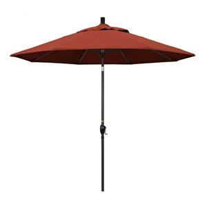 9 Foot Umbrella Aluminum Market Push Tilt - Bronze/Sunbrella/Terracotta