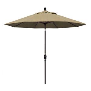 9 Foot Umbrella Aluminum Market Push Tilt - Bronze/Sunbrella/Heather Beige