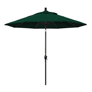 9 Foot Umbrella Aluminum Market Push Tilt - Bronze/Olefin/Hunter Green
