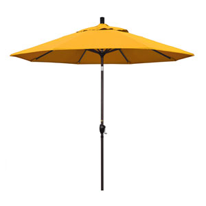 9 Foot Umbrella Aluminum Market Push Tilt - Bronze/Pacifica/Yellow