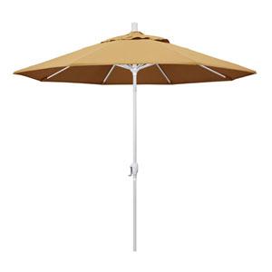 9 Foot Aluminum Market Umbrella Push Tilt Matte White/Sunbrella/Wheat