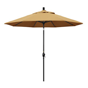 9 Foot Umbrella Aluminum Market Push Tilt - Matte Black/Sunbrella/Wheat