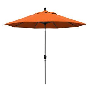 9 Foot Umbrella Aluminum Market Push Tilt - Matte Black/Sunbrella/Tuscan
