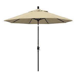 9 Foot Umbrella Aluminum Market Push Tilt - Matte Black/Sunbrella/Antique Beige