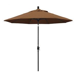 9 Foot Umbrella Aluminum Market Push Tilt - Matte Black/Sunbrella/Canvas Teak