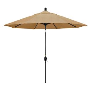 9 Foot Umbrella Aluminum Market Push Tilt - Matte Black/Sunbrella/Sesame Linen