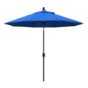 9 Foot Umbrella Aluminum Market Push Tilt - Matte Black/Olefin/Pacific Blue