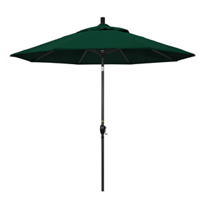 9 Foot Umbrella Aluminum Market Push Tilt - Matte Black/Olefin/Hunter Green