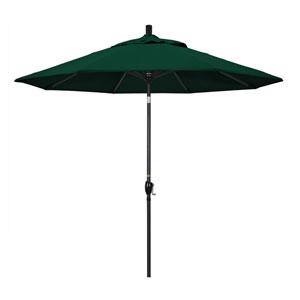 9 Foot Umbrella Aluminum Market Push Tilt - Matte Black/Olefin/Hunter Green