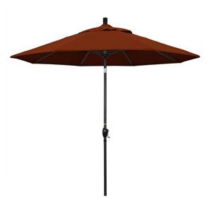 9 Foot Umbrella Aluminum Market Push Tilt - Matte Black/Pacifica/Brick