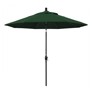 9 Foot Umbrella Aluminum Market Push Tilt - Matte Black/Pacifica/Hunter Green
