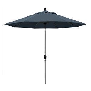 9 Foot Umbrella Aluminum Market Push Tilt - Matte Black/Pacifica/Sapphire