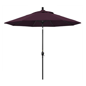 9 Foot Umbrella Aluminum Market Push Tilt - Matte Black/Pacifica/Purple