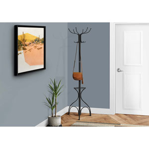 Coat Rack - 70H / Black Metal with an Umbrella Holder