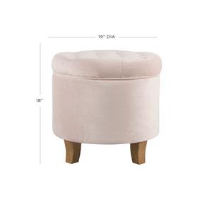Velvet Tufted Round Storage Ottoman - Pink Blush