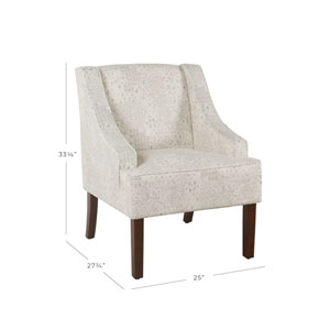 Classic Swoop Arm Accent Chair - Cream and Gray Vintage Stencil