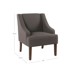 Classic Swoop Arm Accent Chair - Dark Charcoal Gray