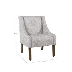 Modern Swoop Arm Chair - Gray Damask