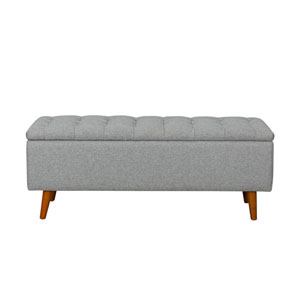 Storage Bench with Button Tufting - Light Gray