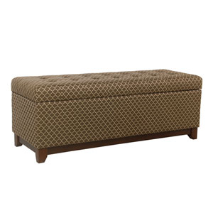 52 Inch Large Storage Bench with Wood Apron - Brown and Taupe Geo