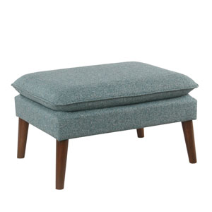 Medium Ottoman with pillowtop - Teal Tweed
