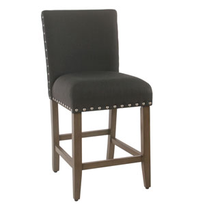 24 Inch Counter stool with Nailheads - Dark Charcoal