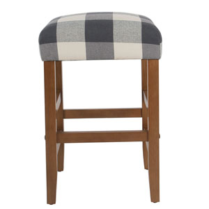 Square Blue Plaid Counter Stool