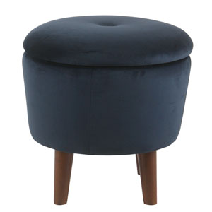 Modern Round Velvet Tufted Storage Ottoman - Dark Navy Blue