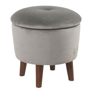 Modern Round Velvet Tufted Storage Ottoman - Gray