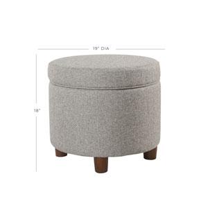 Round Storage Ottoman - Light Gray Tweed