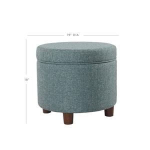 Round Storage Ottoman - Teal Tweed
