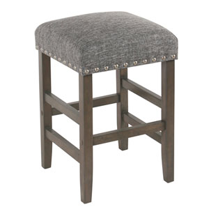 24 Inch Backless Counter stool with Nailheads - Slate Gray
