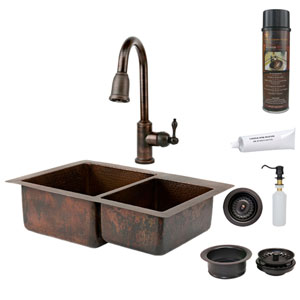 33-Inch Hammered Copper 60/40 Double Bowl Kitchen Sink with Pull Down Faucet, Matching Drains, and Accessories.