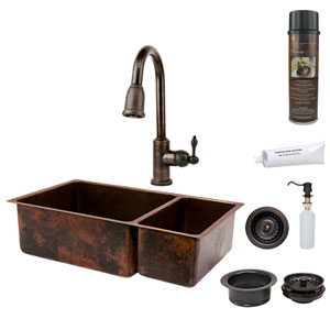 33-Inch Hammered Copper 75/25 Double Bowl Kitchen Sink with Pull Down Faucet, Matching Drains, and Accessories.