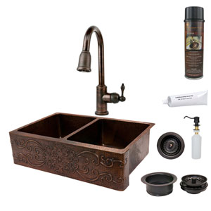 33-Inch Hammered Copper Scroll Design Apron Double Bowl Kitchen Sink with Pull Down Faucet, Matching Drain, and Accessories.