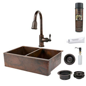 33-Inch Hammered Copper Apron 50/50 Double Bowl Kitchen Sink with Pull Down Faucet