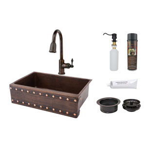 33-Inch Hammered Copper Barrel Strap Design Apron Single Bowl Kitchen Sink with Pull Down Faucet, Matching Drain, and