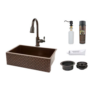 33-Inch Hammered Copper Tuscan Design Apron Single Bowl Kitchen Sink with Pull Down Faucet, Matching Drain, and Accessories.